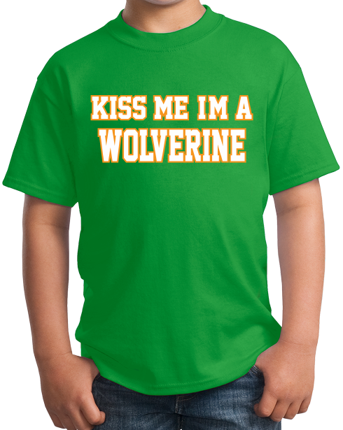 Youth Green Kiss Me, I'm A Wolverine - St. Patrick's Day Ann Arbor Drunk T-shirt