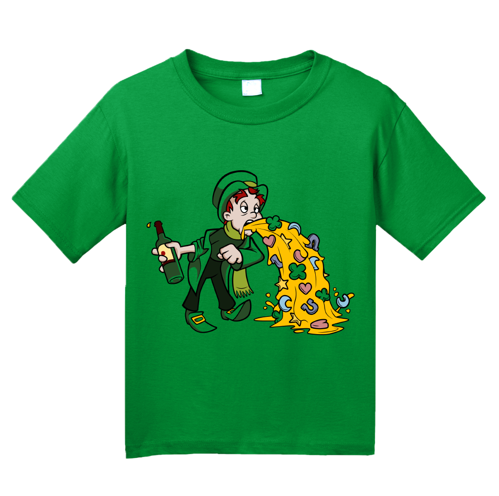 Youth Green Un-lucky Leprechaun Puking T-shirt