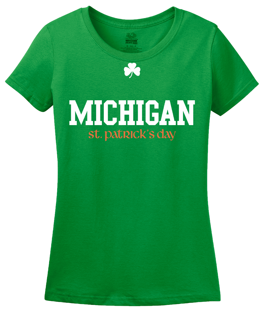 Ladies Green Michigan St. Patrick's Day - Michigan Pride Drinking Party T-shirt