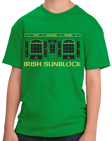 Youth Green Irish Sunblock - St. Patrick's Day Funny Pub Drinking Party T-shirt