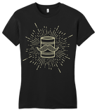 Girly Black Tin Can Brothers Mustache Can Yellow T-shirt
