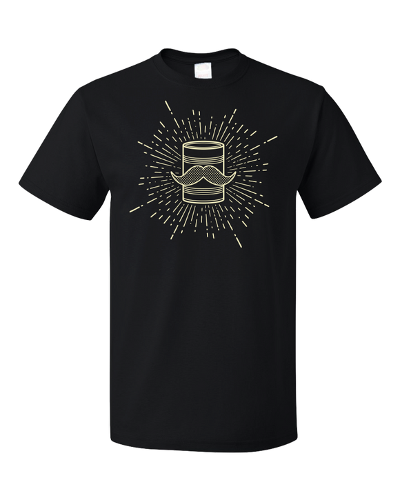Standard Black Tin Can Brothers Mustache Can Yellow T-shirt