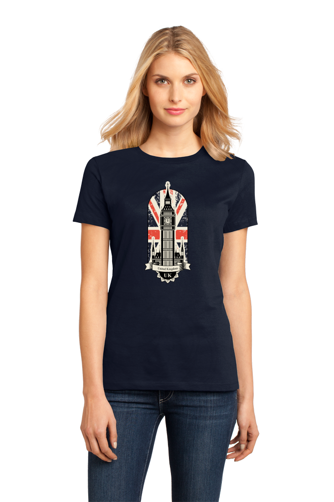Ladies Navy Big Ben UK Love - London Anglophile British Pride Love England T-shirt