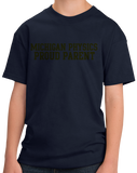 Youth Navy Proud Parent Block Letter Navy Tee T-shirt