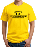 Unisex Yellow Yellow Property of UM Physics Dept. T-shirt