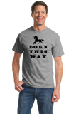 Standard Grey Born This Way - Lady Gaga LGBT Bisexual Unicorn Hipster Cool T-shirt