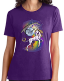 Ladies Purple Unicorn Narwhal Duel - Mythical Creature Rainbow Funny T-shirt