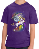 Youth Purple Unicorn Narwhal Duel - Mythical Creature Rainbow Funny T-shirt