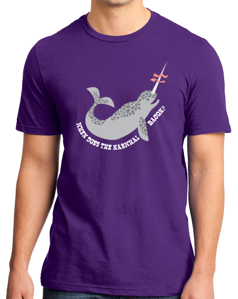 Standard Purple When Does The Narwhal Bacon? - Reddit Humor Funny Meme T-shirt