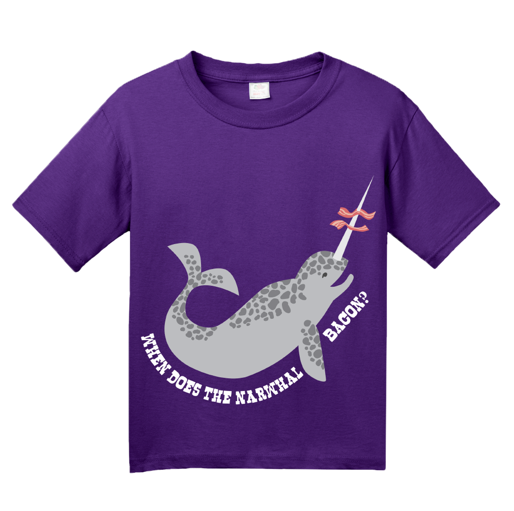 e126ba7241 ... Youth Purple When Does The Narwhal Bacon? - Reddit Humor Funny Meme T- shirt