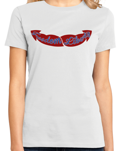 Ladies White Freedom & Liberty Guns - Merica Merican 4th of July Patriot USA T-shirt