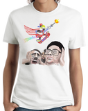 Ladies White Epic Skateboarding Eagle - 4th of July Funny 'Merica X-Games T-shirt