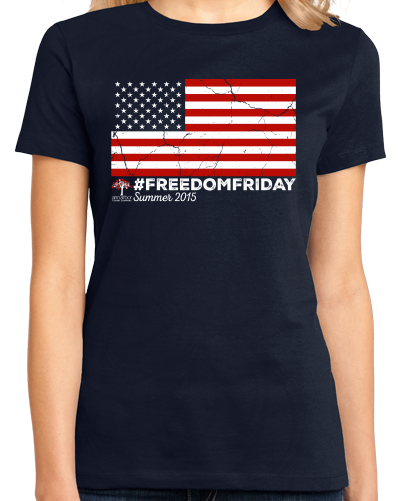 Ladies Navy #FREEDOMFRIDAY USA Flag  T-shirt