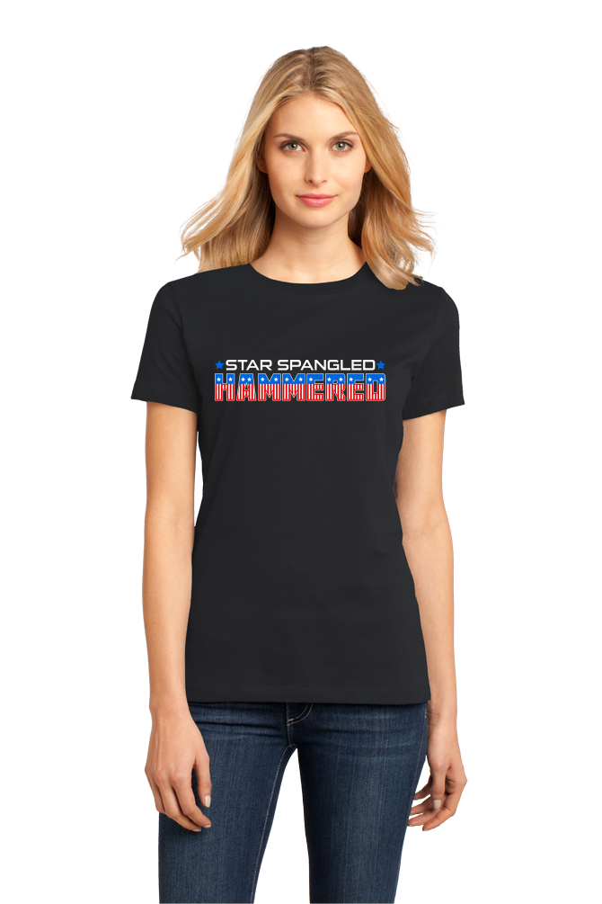 Ladies Black Star Spangled Hammered - 4th of July Drunk Joke Freedom Patriot T-shirt