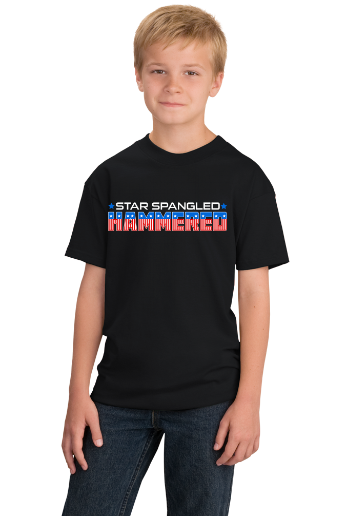 Youth Black Star Spangled Hammered - 4th of July Drunk Joke Freedom Patriot T-shirt