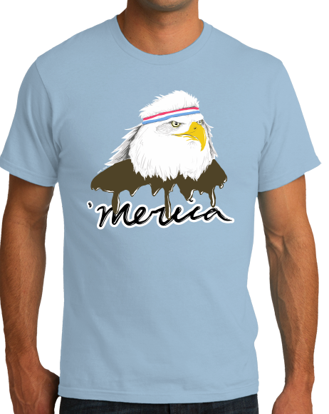 Standard Light Blue Merica Mullet Eagle - Funny Redneck July 4th Patriot Party T-shirt
