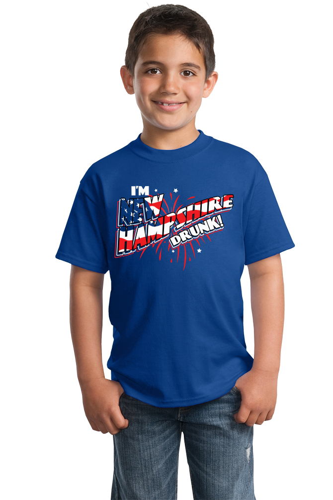 Youth Royal I'm New Hampshire Drunk! - July 4th Live Free Or Die Funny T-shirt