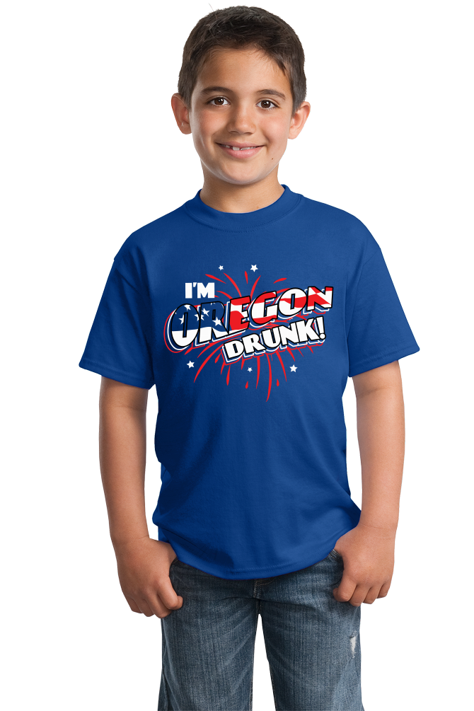 Youth Royal I'm Oregon Drunk! - Beaver State Pride 4th of July Party Fun T-shirt