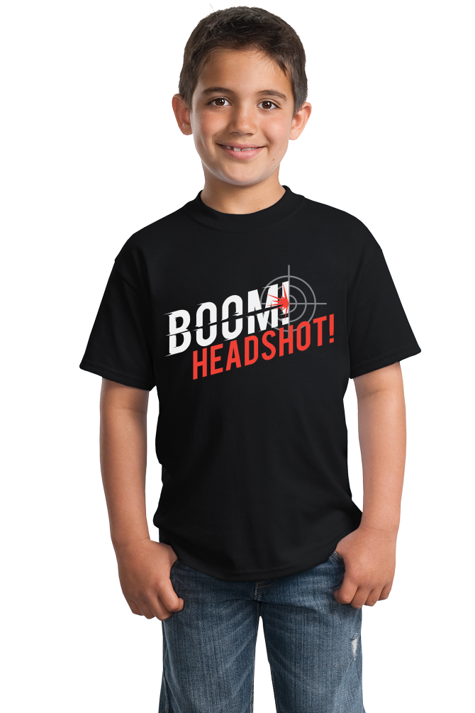 Youth Black Boom! Headshot! - Gamer Humor FPS Halo Call of Duty Pride T-shirt