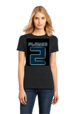 Ladies Black Player 2 (Two) - Video Game Fan Funny Halloween Gamer Costume T-shirt