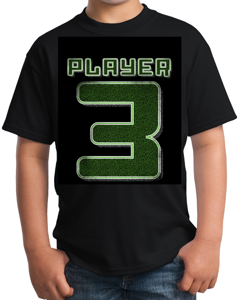 Youth Black Player 3 (Three) - Video Game Fan Funny Halloween Gamer Costume T-shirt