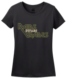 Ladies Black Raids Before Grades - Funny Slacker Stoner Gamer Video Game T-shirt