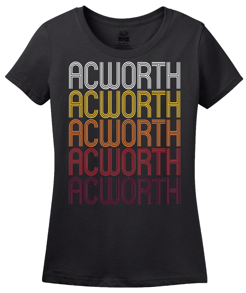Ladies Black Acworth, GA | Retro, Vintage Style Georgia Pride  T-shirt
