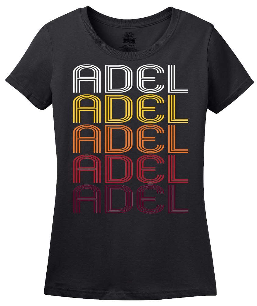 Ladies Black Adel, IA | Retro, Vintage Style Iowa Pride  T-shirt