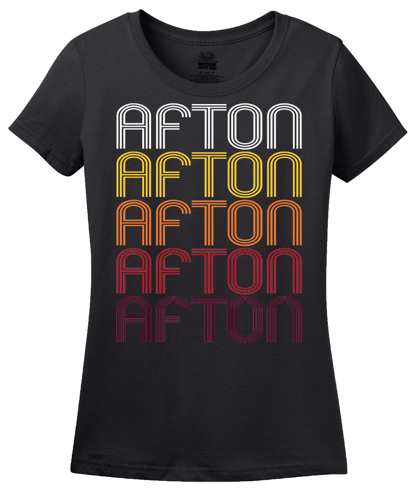 Ladies Black Afton, MN | Retro, Vintage Style Minnesota Pride  T-shirt