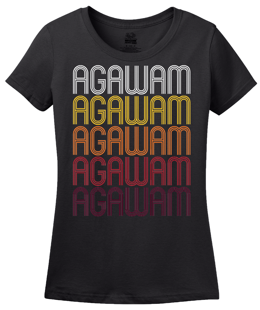 Ladies Black Agawam, MA | Retro, Vintage Style Massachusetts Pride  T-shirt