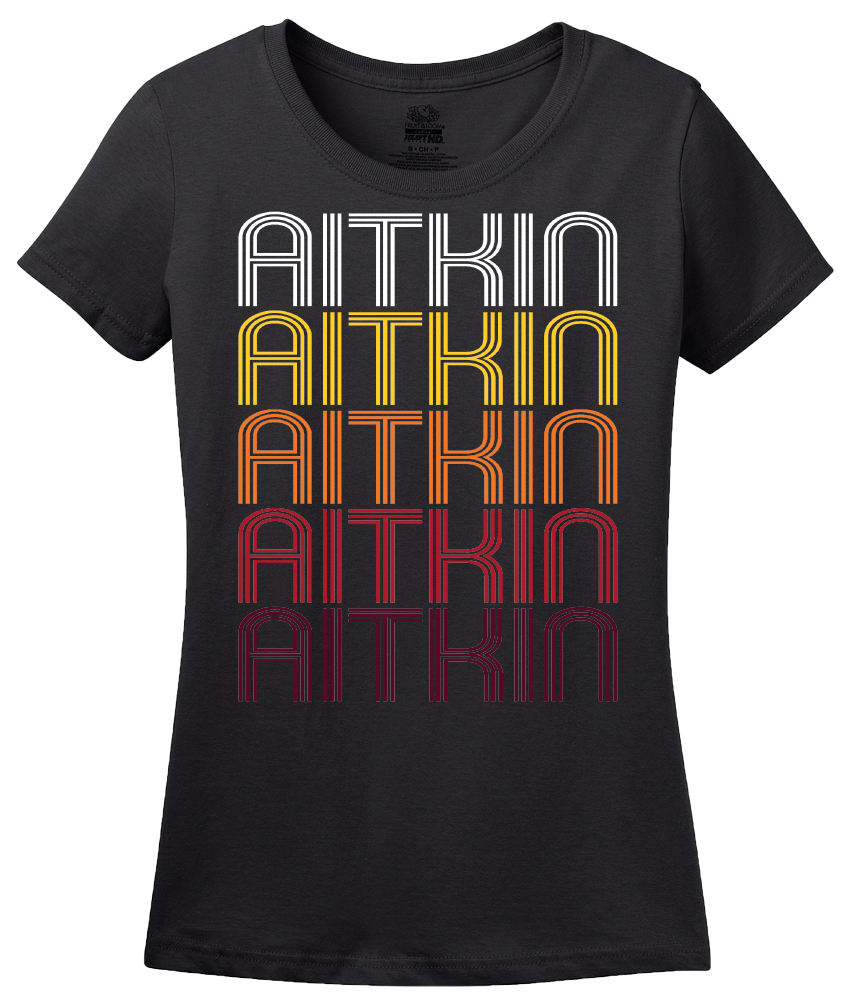 Ladies Black Aitkin, MN | Retro, Vintage Style Minnesota Pride  T-shirt