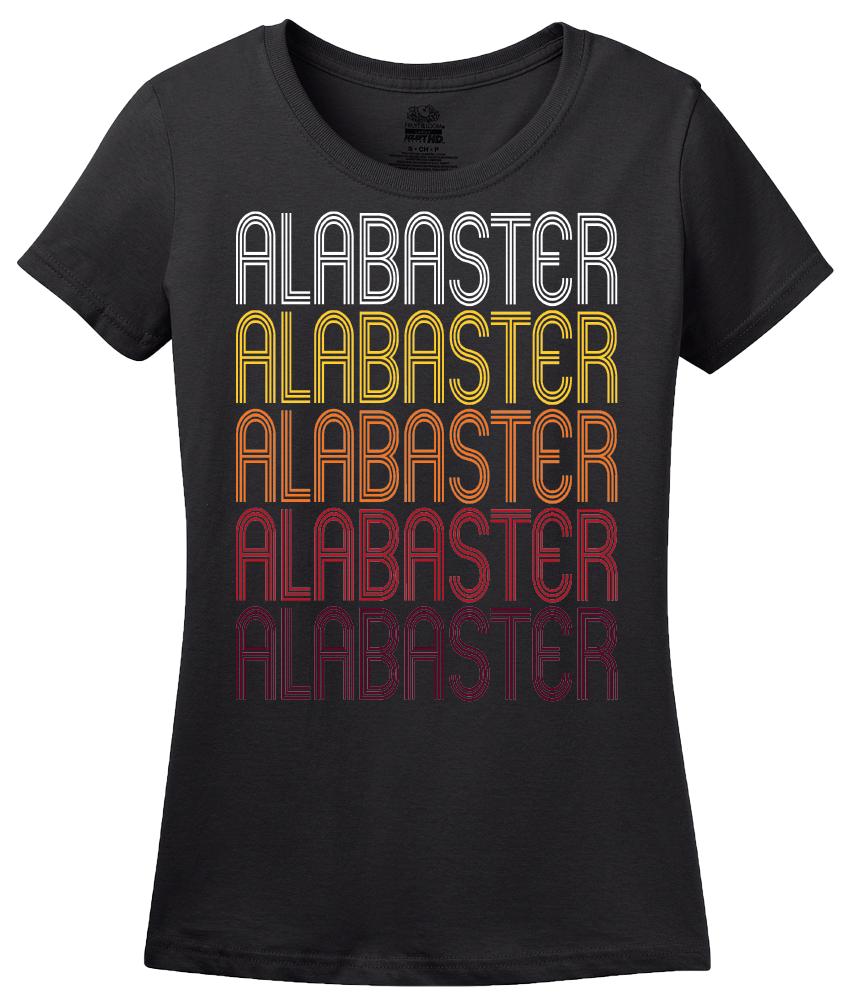 Ladies Black Alabaster, AL | Retro, Vintage Style Alabama Pride  T-shirt