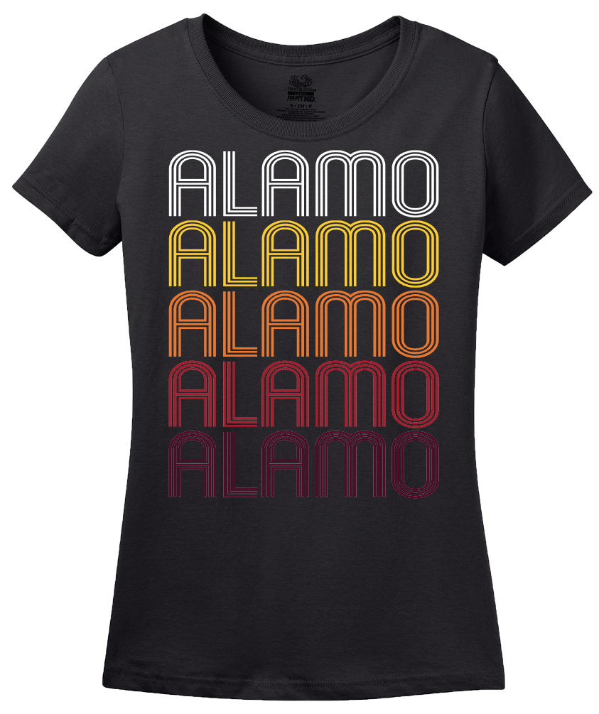 Ladies Black Alamo, TN | Retro, Vintage Style Tennessee Pride  T-shirt