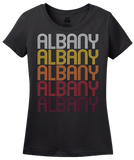 Ladies Black Albany, IN | Retro, Vintage Style Indiana Pride  T-shirt