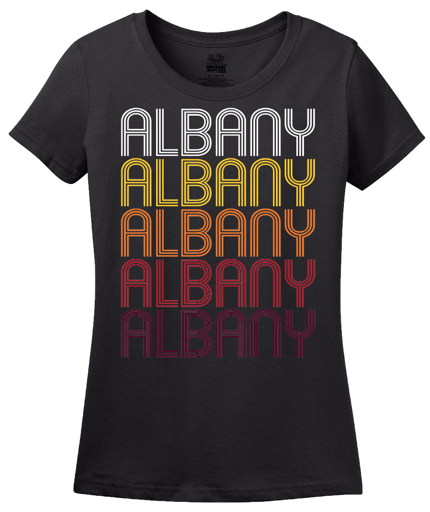 Ladies Black Albany, NY | Retro, Vintage Style New York Pride  T-shirt