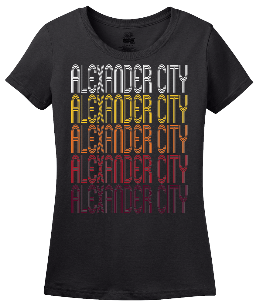 Ladies Black Alexander City, AL | Retro, Vintage Style Alabama Pride  T-shirt