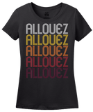 Ladies Black Allouez, WI | Retro, Vintage Style Wisconsin Pride  T-shirt