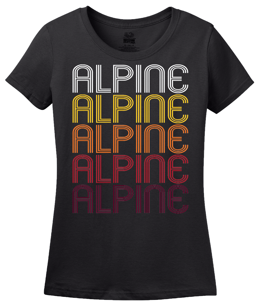 Ladies Black Alpine, NJ | Retro, Vintage Style New Jersey Pride  T-shirt