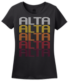 Ladies Black Alta, IA | Retro, Vintage Style Iowa Pride  T-shirt