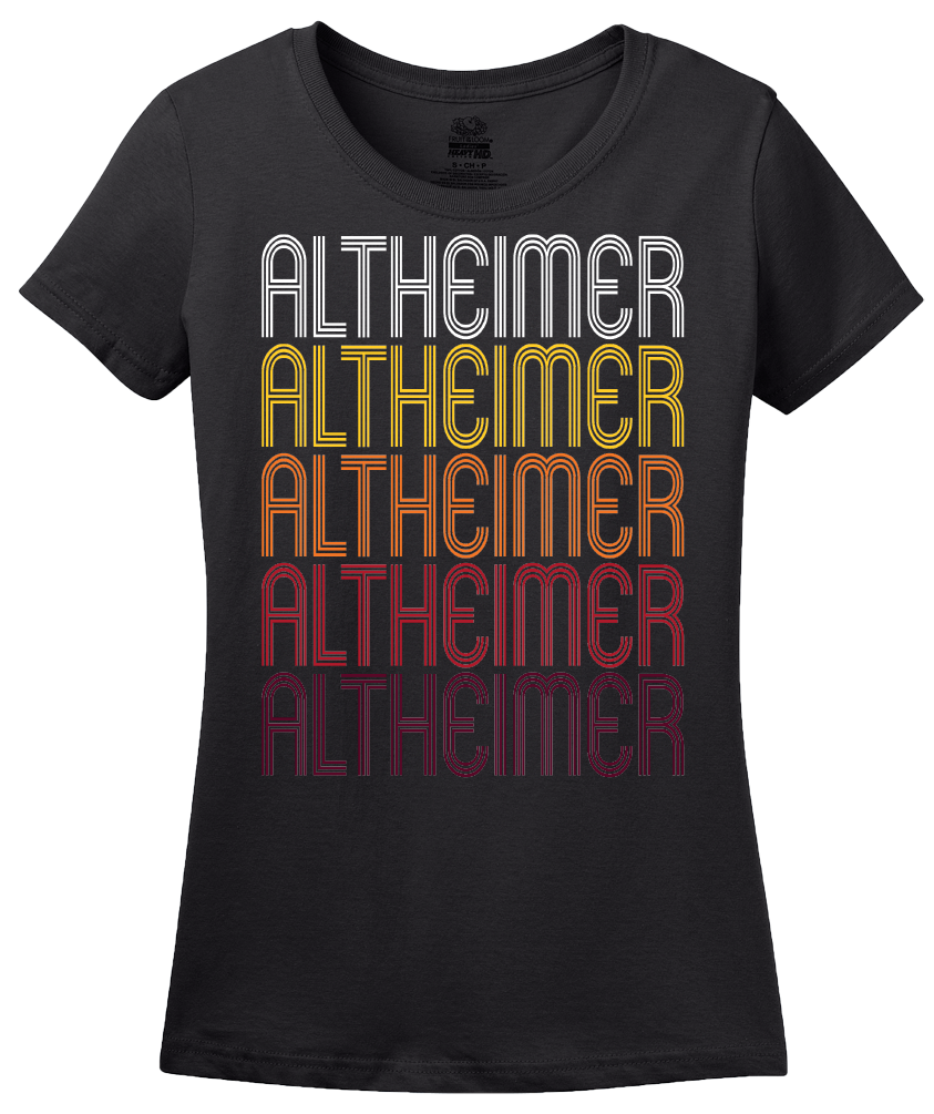 Ladies Black Altheimer, AR | Retro, Vintage Style Arkansas Pride  T-shirt