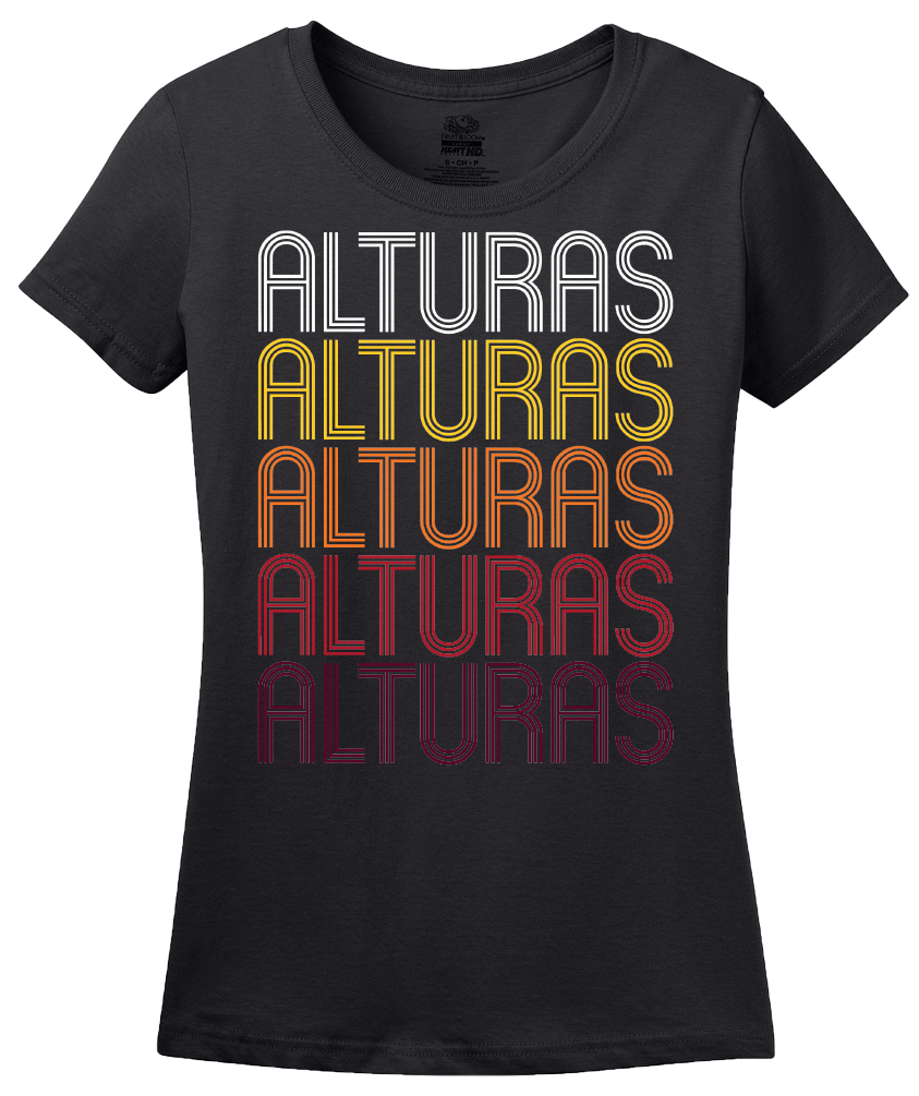 Ladies Black Alturas, CA | Retro, Vintage Style California Pride  T-shirt