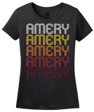 Ladies Black Amery, WI | Retro, Vintage Style Wisconsin Pride  T-shirt