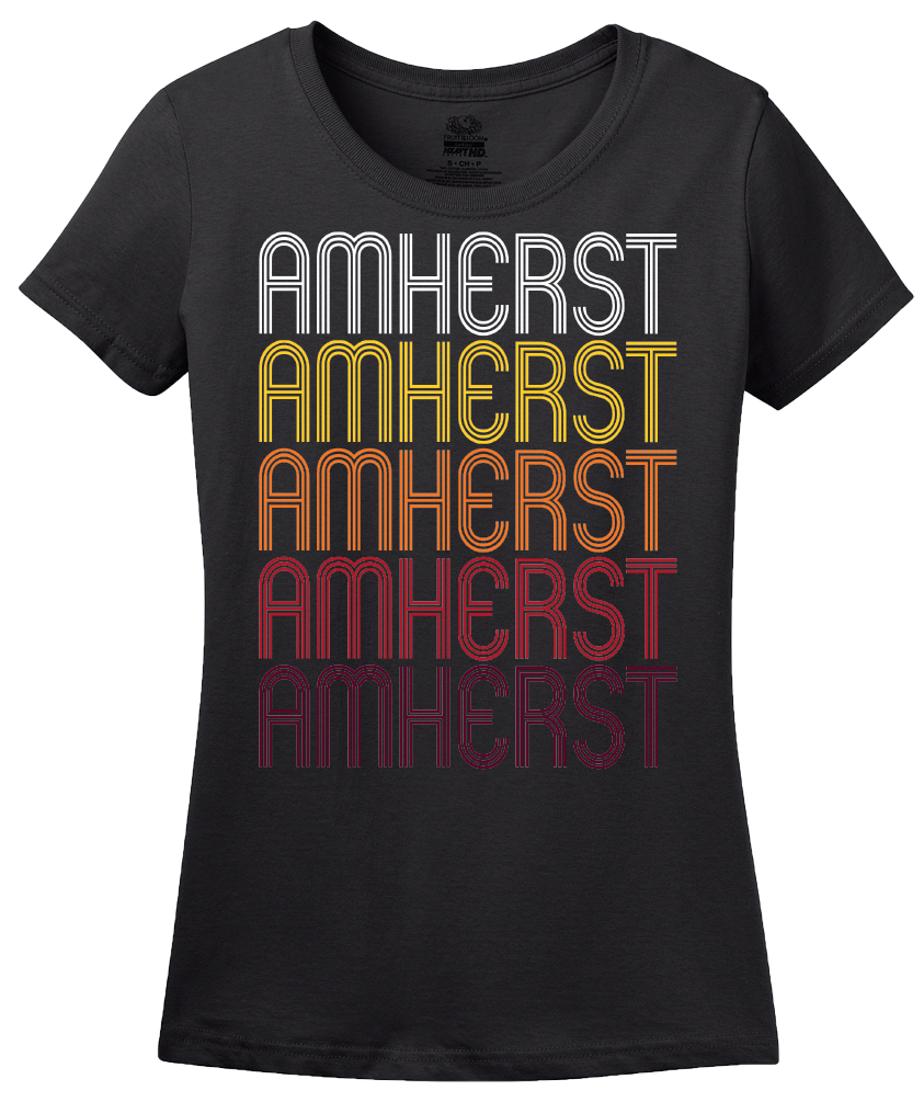 Ladies Black Amherst, VA | Retro, Vintage Style Virginia Pride  T-shirt