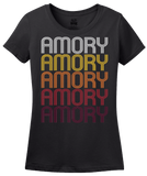 Ladies Black Amory, MS | Retro, Vintage Style Mississippi Pride  T-shirt