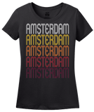 Ladies Black Amsterdam, NY | Retro, Vintage Style New York Pride  T-shirt