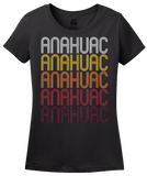 Ladies Black Anahuac, TX | Retro, Vintage Style Texas Pride  T-shirt