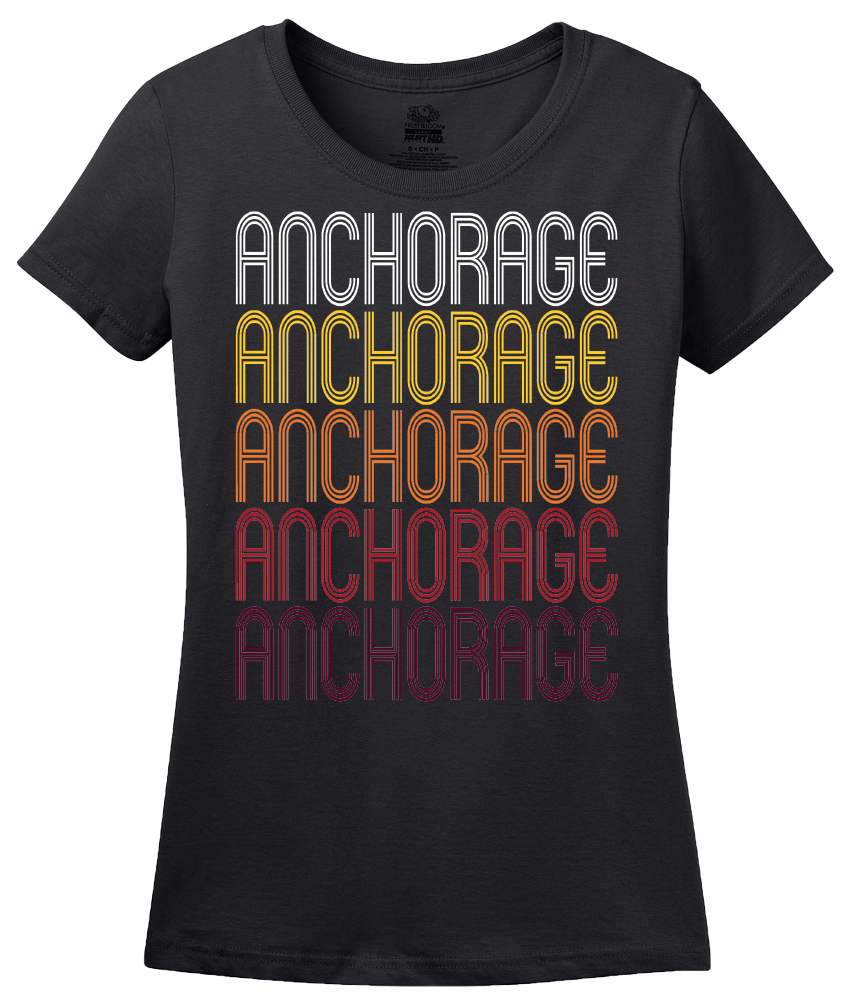 Ladies Black Anchorage, KY | Retro, Vintage Style Kentucky Pride  T-shirt