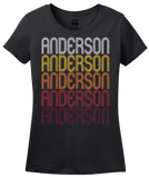 Ladies Black Anderson, SC | Retro, Vintage Style South Carolina Pride  T-shirt