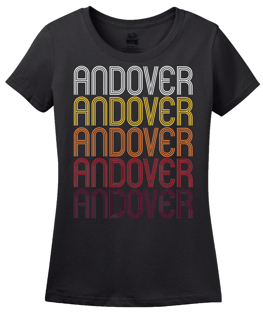 Ladies Black Andover, OH | Retro, Vintage Style Ohio Pride  T-shirt