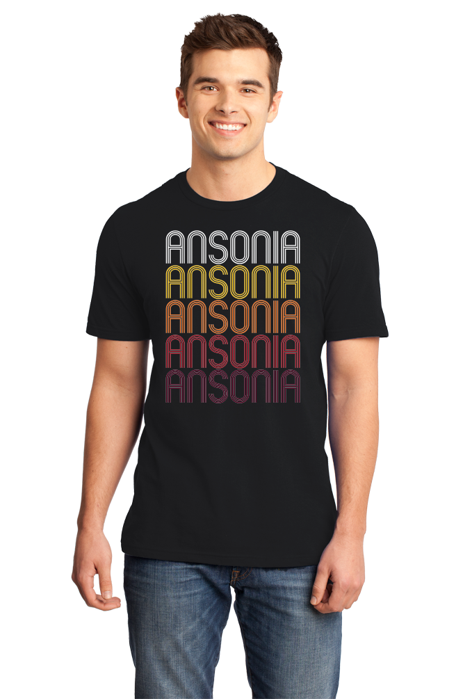 Standard Black Ansonia, CT | Retro, Vintage Style Connecticut Pride  T-shirt